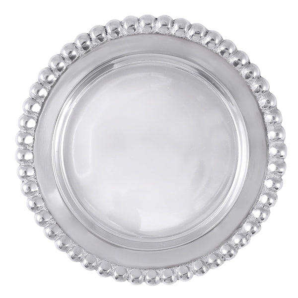 A round silver wine plate with silver beading around the outer edge.