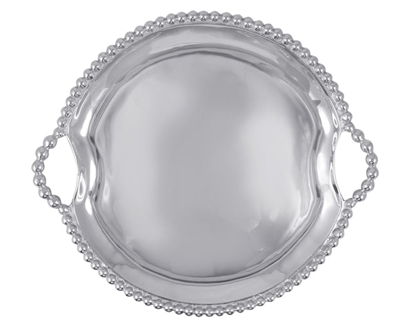 Pearled Round Handled Tray