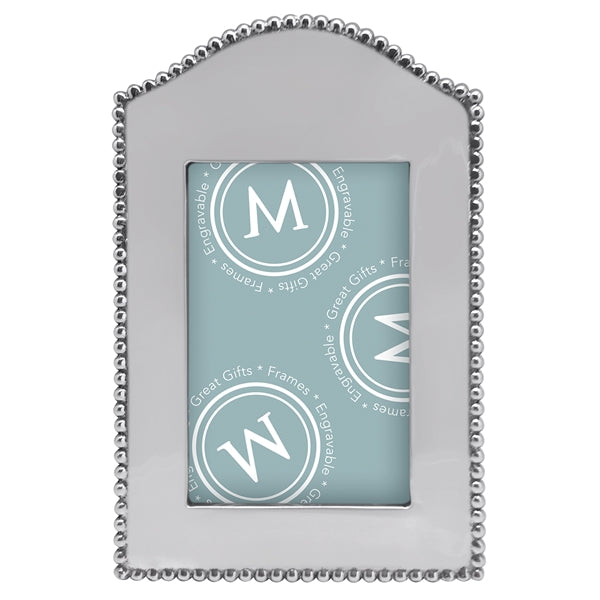 A vertical silver frame with an arched top and silver beading around the outer edge.