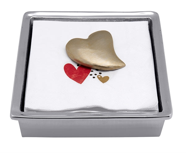 Brushed Gold Heart Signature Napkin Box