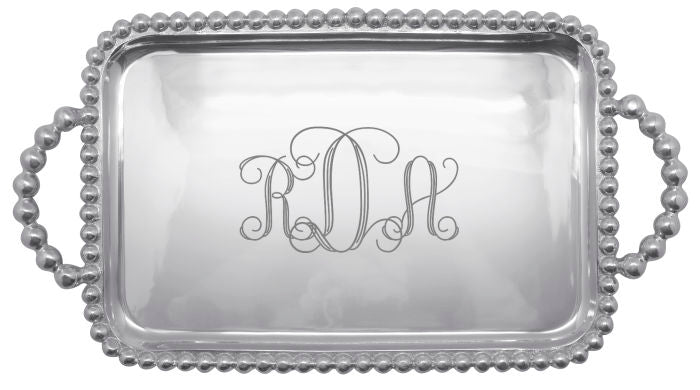 Monogrammed Pearled Medium Service Tray