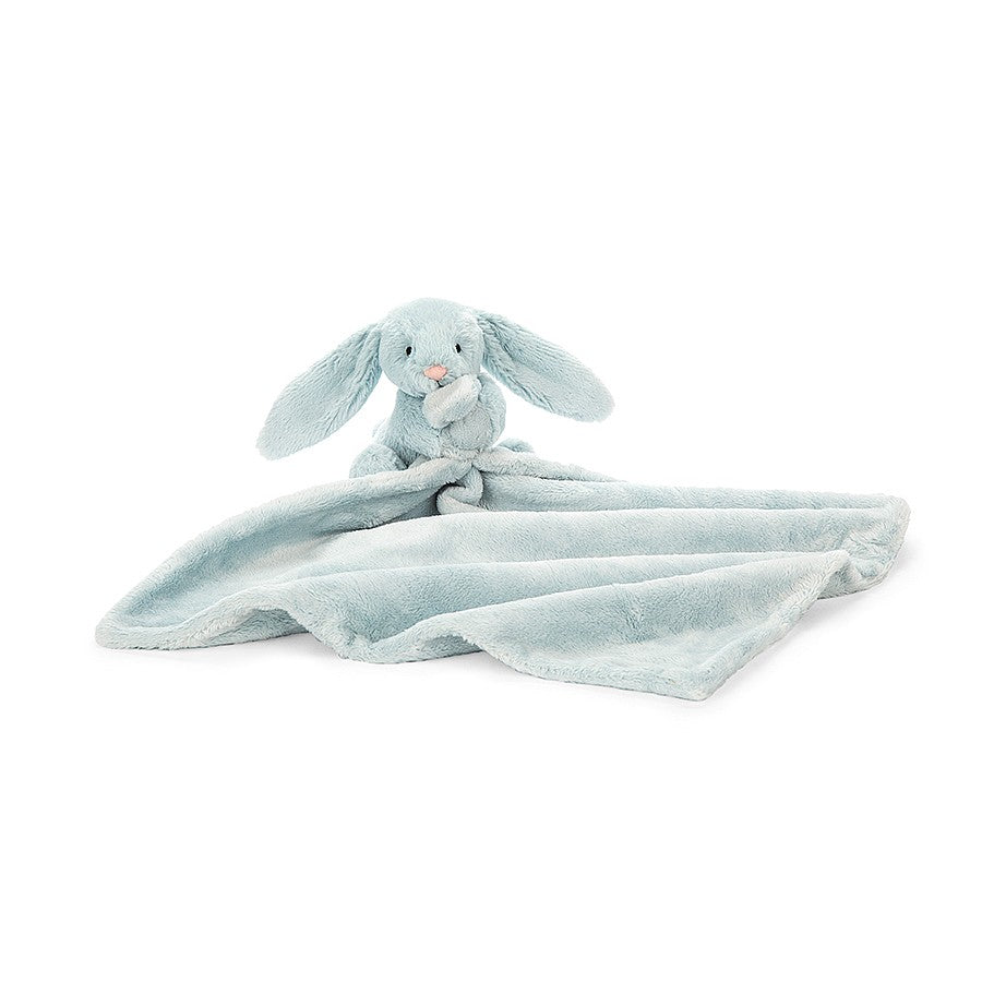 A plush pale blue bunny with blanket attached.