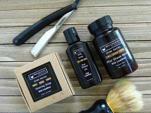 shave soap, pre-shave oil, aftershave, shave brush and straight razor