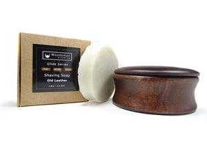 Old Leather Shave Soap with Wooden Bowl