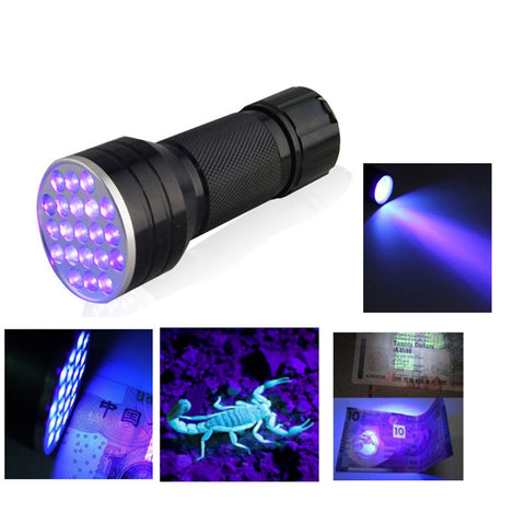 Invisible Blacklight UV 21 LED Ultra Portable Flashlight