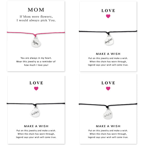 Adjustable Silver Family Bracelets With Card