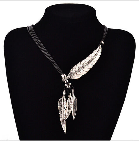 NEW Bohemian Style Black Rope Chain Leaf Feather Pattern Pendant Necklace