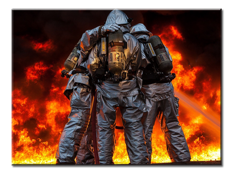 3 Firefighters - 1 Panel