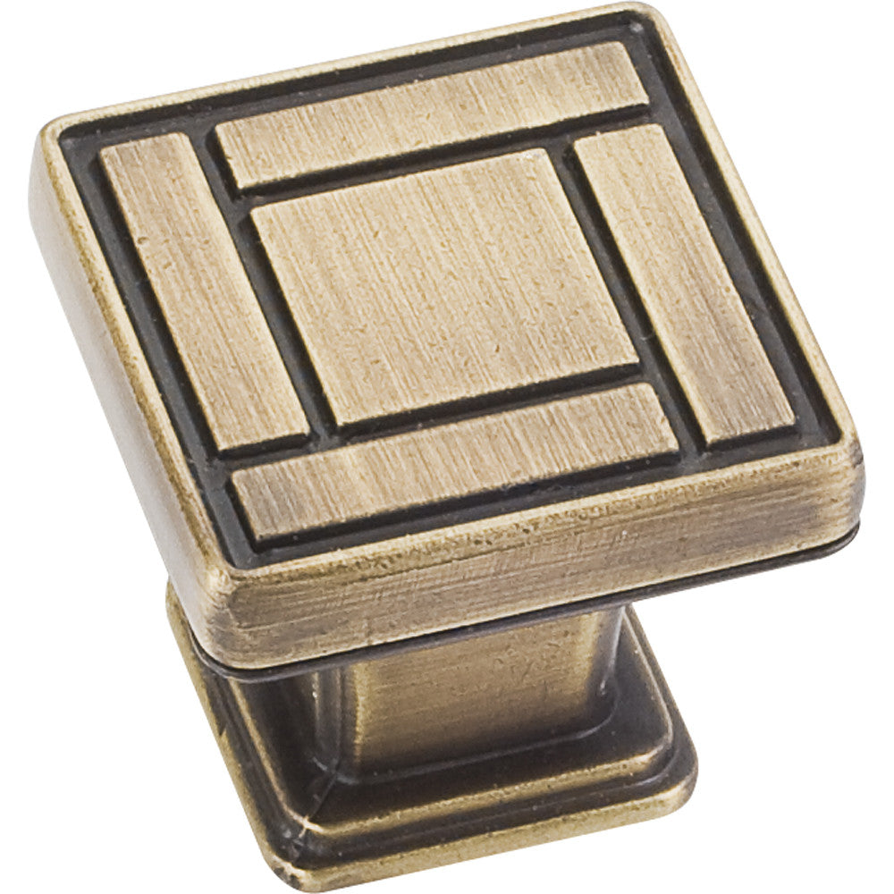 "1-1/8"" Zinc Die Cast Arts & Crafts Square Decorative Cabinet KnobVarious Finishes - DecorativeResources.com"