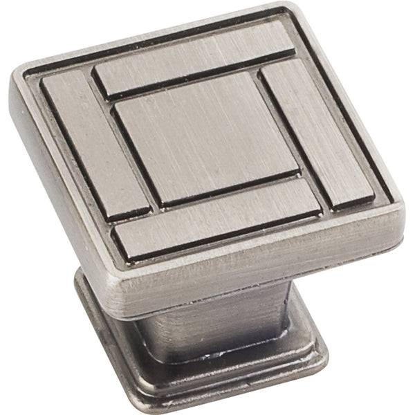 "1-1/8"" Zinc Die Cast Arts & Crafts Square Decorative Cabinet KnobVarious Finishes"