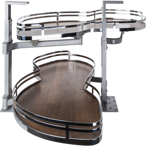 "For 15""-17"" Opening: Polished Chrome and Walnut Left Handed Blind Corner Swing Out"