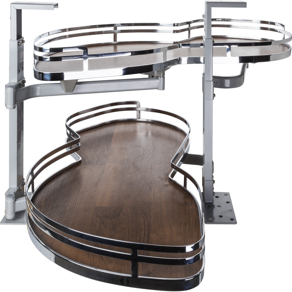 "For 18""-20"" Opening: Polished Chrome and Walnut Left Handed Blind Corner Swing Out"