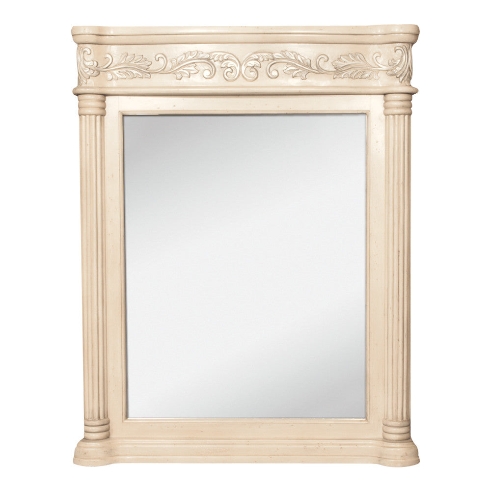 "33""W x 42""H Traditional Mirror Antique White Finish - DecorativeResources.com"