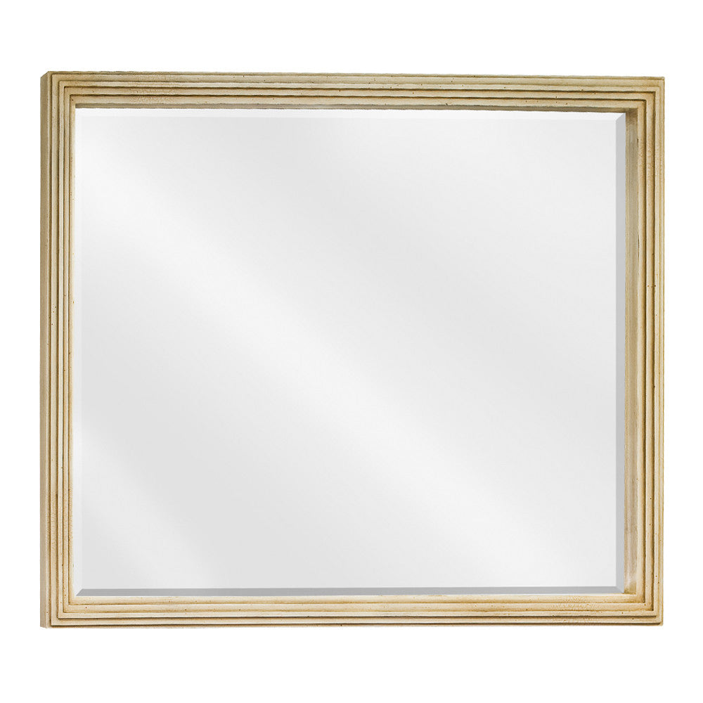 "44""W x 34""H Traditional Style Mirror Buttercream Finish"