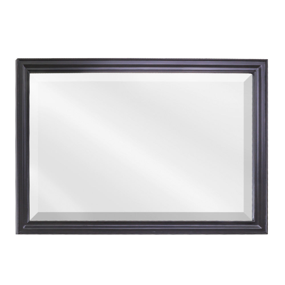 "40""W x 28""H Transitional Style Mirror Black Finish"