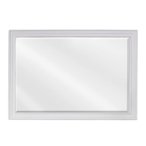 "42""W x 28""H Transitional Style Mirror White Finish"