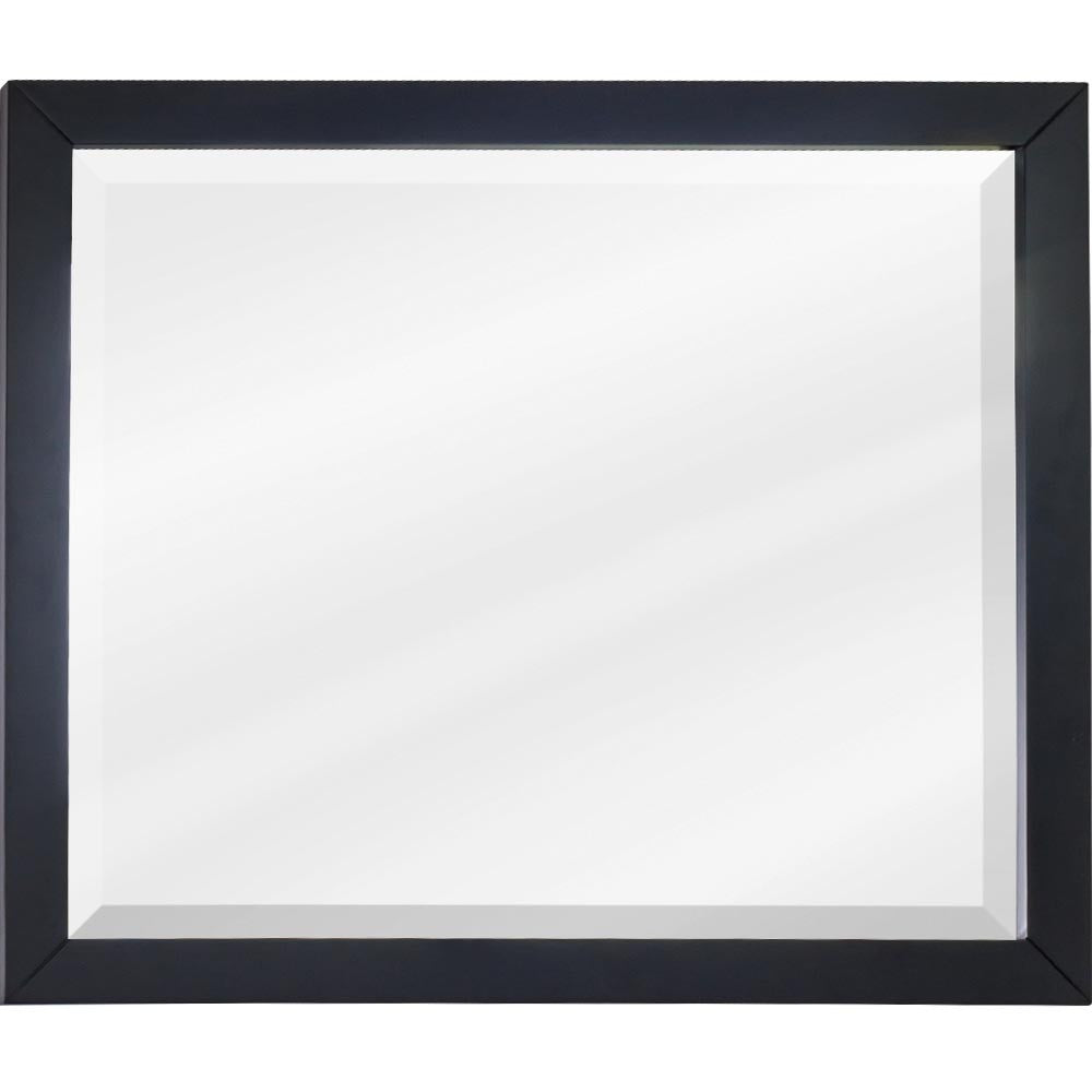 "33""W x 28""H Transitional Style Mirror Black Finish"