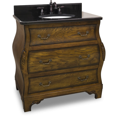 "Traditional Walnut Finish 34"" Vanity Base With Black Granite Countertop - DecorativeResources.com"