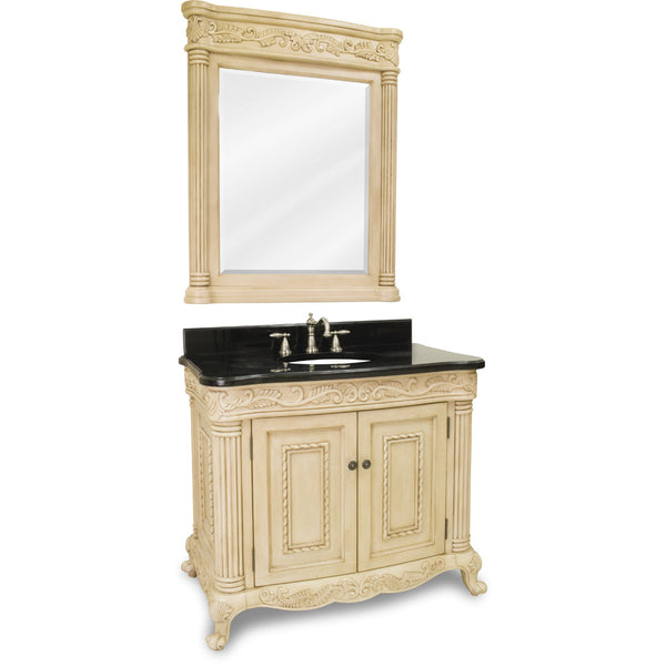 "Traditional Antique Finish 40"" Vanity Base With Black Granite Countertop"