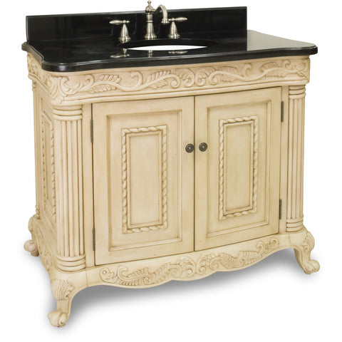 "Traditional Antique Finish 40"" Vanity Base With Black Granite Countertop - DecorativeResources.com"