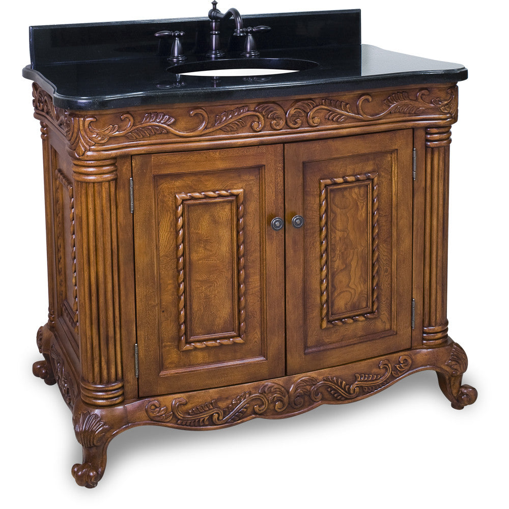 "Traditional Golden Pecan Finish 40"" Vanity Base With Black Granite Countertop - DecorativeResources.com"