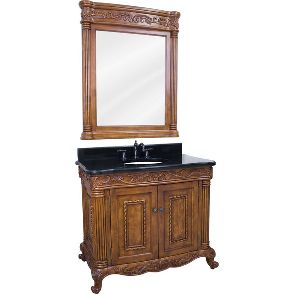 "Traditional Golden Pecan Finish 40"" Vanity Base With Black Granite Countertop"