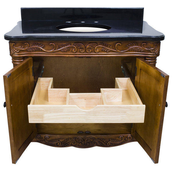 "Traditional Golden Pecan Finish 40"" Vanity Base Without Countertop"