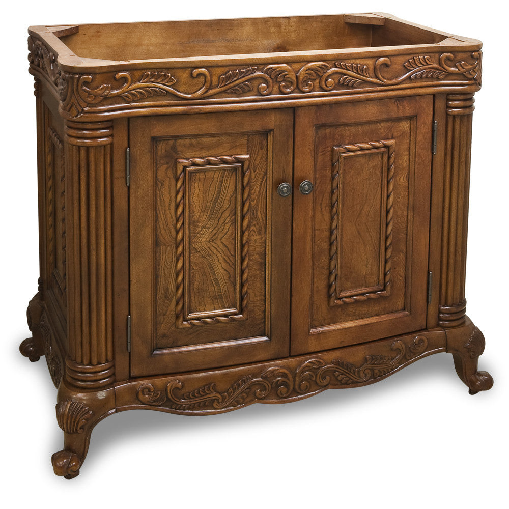 "Traditional Golden Pecan Finish 40"" Vanity Base Without Countertop - DecorativeResources.com"