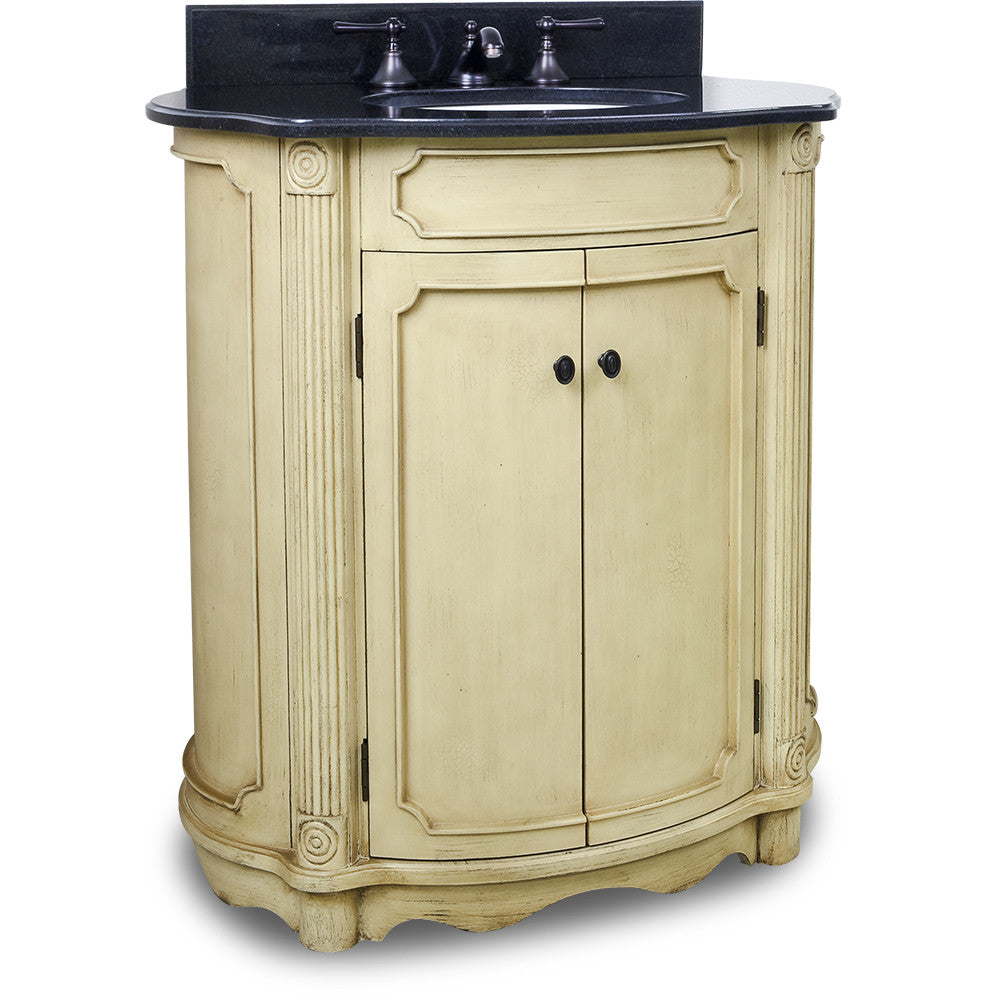 "Traditional Buttercream Finish 30"" Vanity Base With Black Granite Countertop"