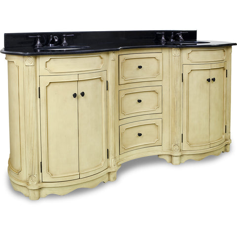 "Traditional Buttercream Finish 74"" Vanity Base With Black Granite Countertop"