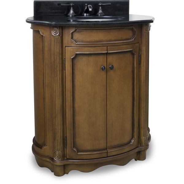 "Traditional Walnut Finish 30"" Vanity Base With Black Granite Countertop - DecorativeResources.com"