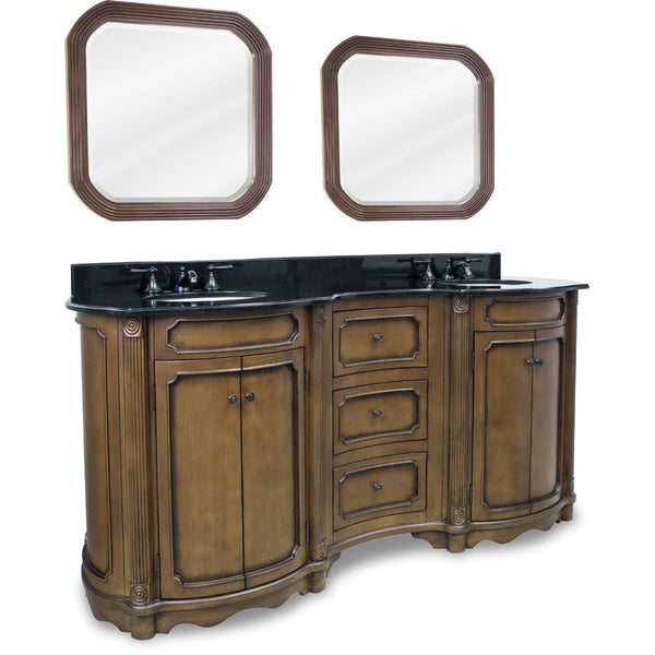 "Traditional Walnut Finish 74"" Vanity Base With Black Granite Countertop"
