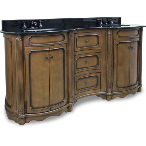 "Traditional Walnut Finish 74"" Vanity Base With Black Granite Countertop - DecorativeResources.com"