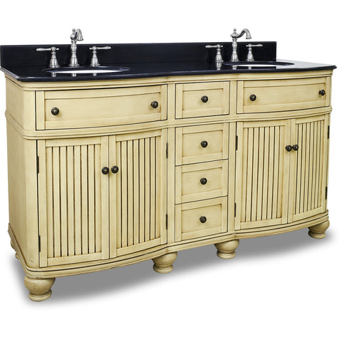 "Traditional Buttercream Finish 60"" Vanity Base With Black Granite Countertop"