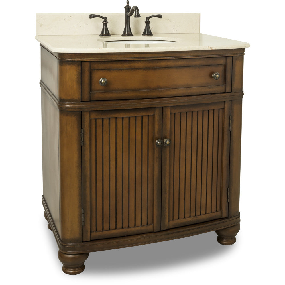 "Traditional Walnut Finish 30"" Vanity Base With Cream Marble Countertop - DecorativeResources.com"