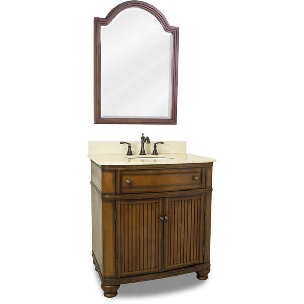 "Traditional Walnut Finish 30"" Vanity Base With Cream Marble Countertop"