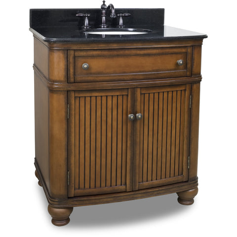 "Traditional Walnut Finish 30"" Vanity Base With Black Granite Countertop"