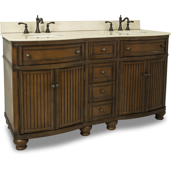 "Traditional Walnut Finish 60"" Vanity Base With Cream Marble Countertop"