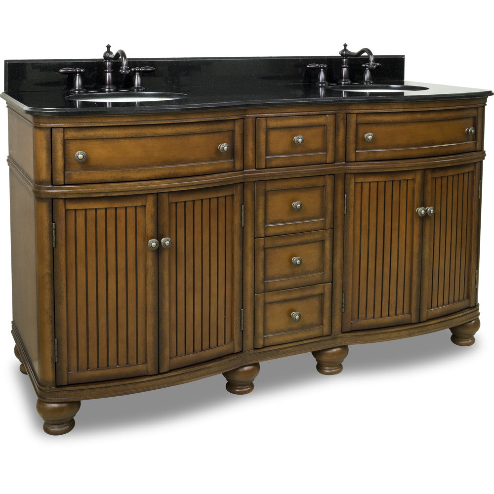 "Traditional Walnut Finish 60"" Vanity Base With Black Granite Countertop"