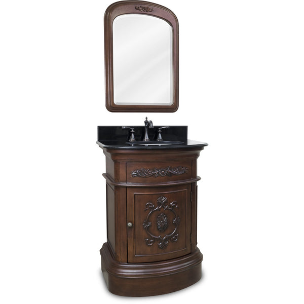 "Traditional Merlot Finish 24"" Vanity Base With Black Granite Countertop"