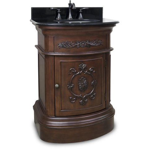 "Traditional Merlot Finish 24"" Vanity Base With Black Granite Countertop - DecorativeResources.com"