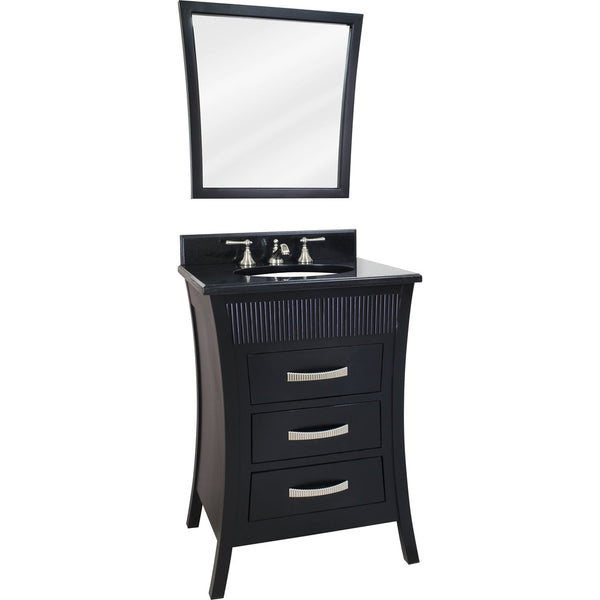 "Transitional Black Finish 24"" Vanity Base With Black Granite Countertop - DecorativeResources.com"