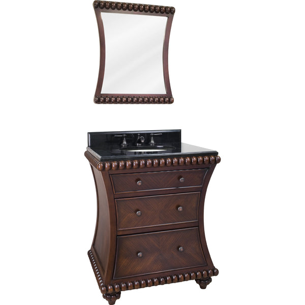 "Traditional 30"" Rosewood Finish Vanity Base With Black Granite Countertop - DecorativeResources.com"