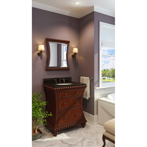 "Traditional 30"" Rosewood Finish Vanity Base With Black Granite Countertop"