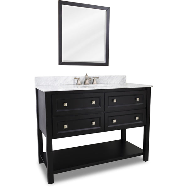 "Transitional Black Finish 48"" Vanity Base With Carrera White Marble Countertop"