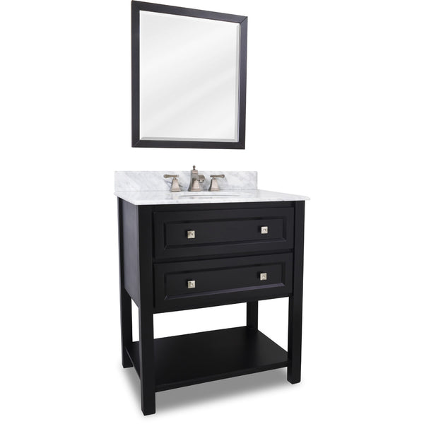 "Transitional Black Finish 30"" Vanity Base With Carrera White Marble Countertop"