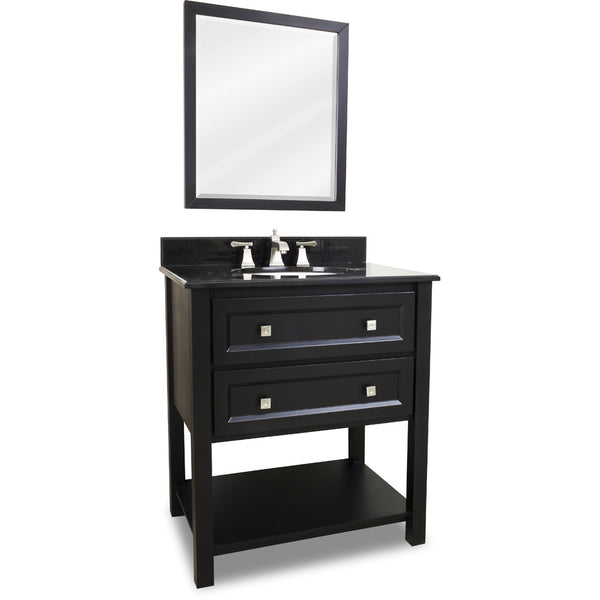 "Transitional Black Finish 30"" Vanity Base With Black Granite Countertop"