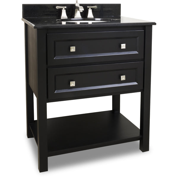 "Transitional Black Finish 30"" Vanity Base With Black Granite Countertop - DecorativeResources.com"