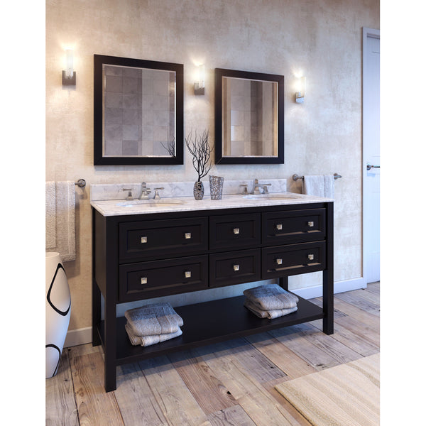"Transitional Black Finish 60"" Vanity Base With Carrera White Marble Countertop"