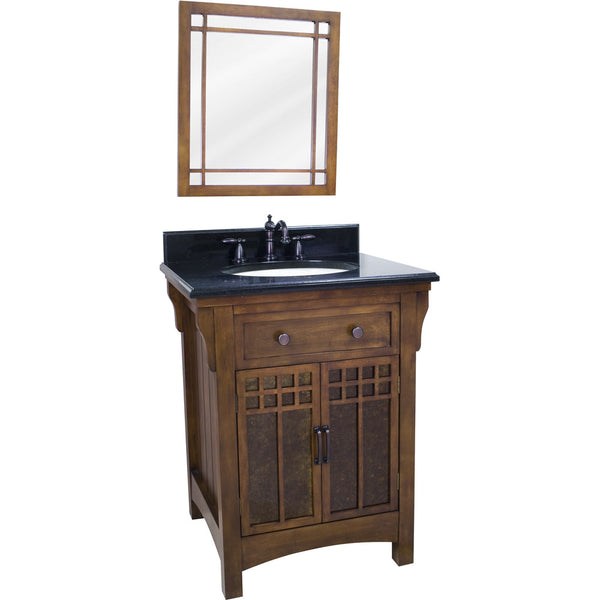 "Traditional Chestnut Finish 26"" Vanity Base With Black Granite Countertop"